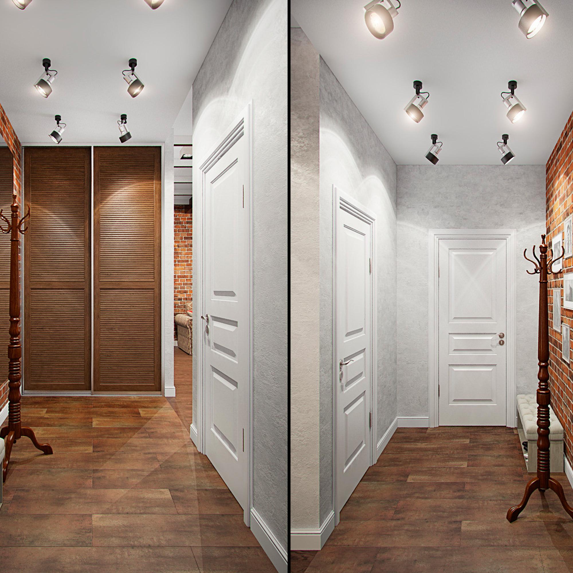 Светильники-споты в узком коридоре